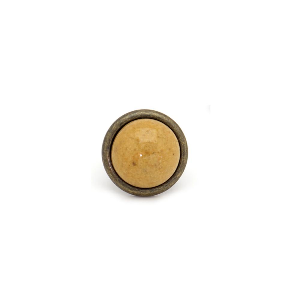 Anel em metal com pedra redonda (2)