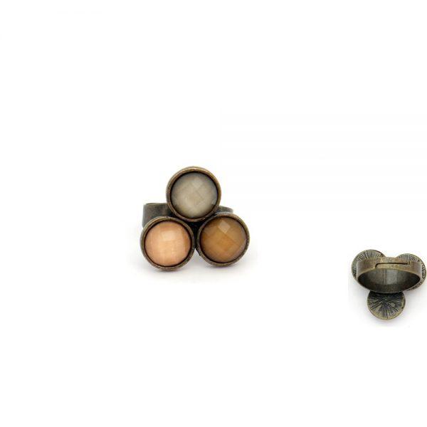 Anel em metal regulável e pedras acrílicas (1)