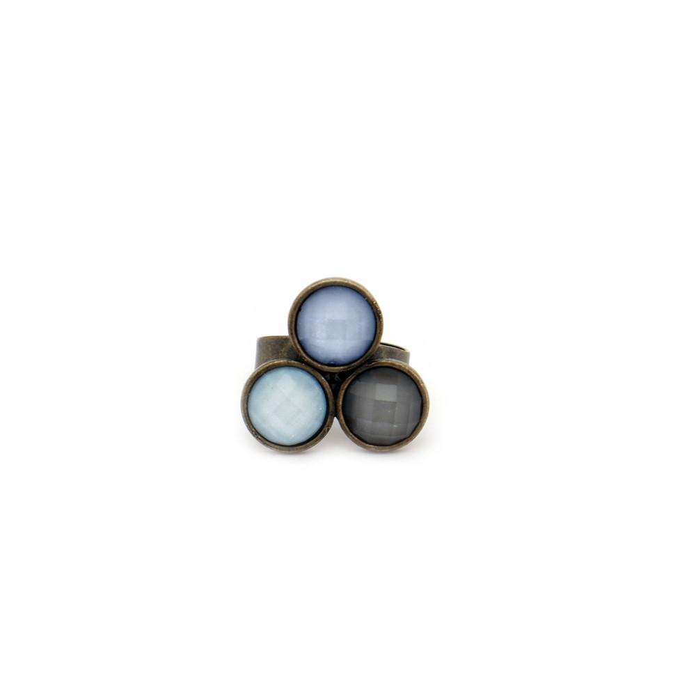 Anel em metal regulável e pedras acrílicas (3)