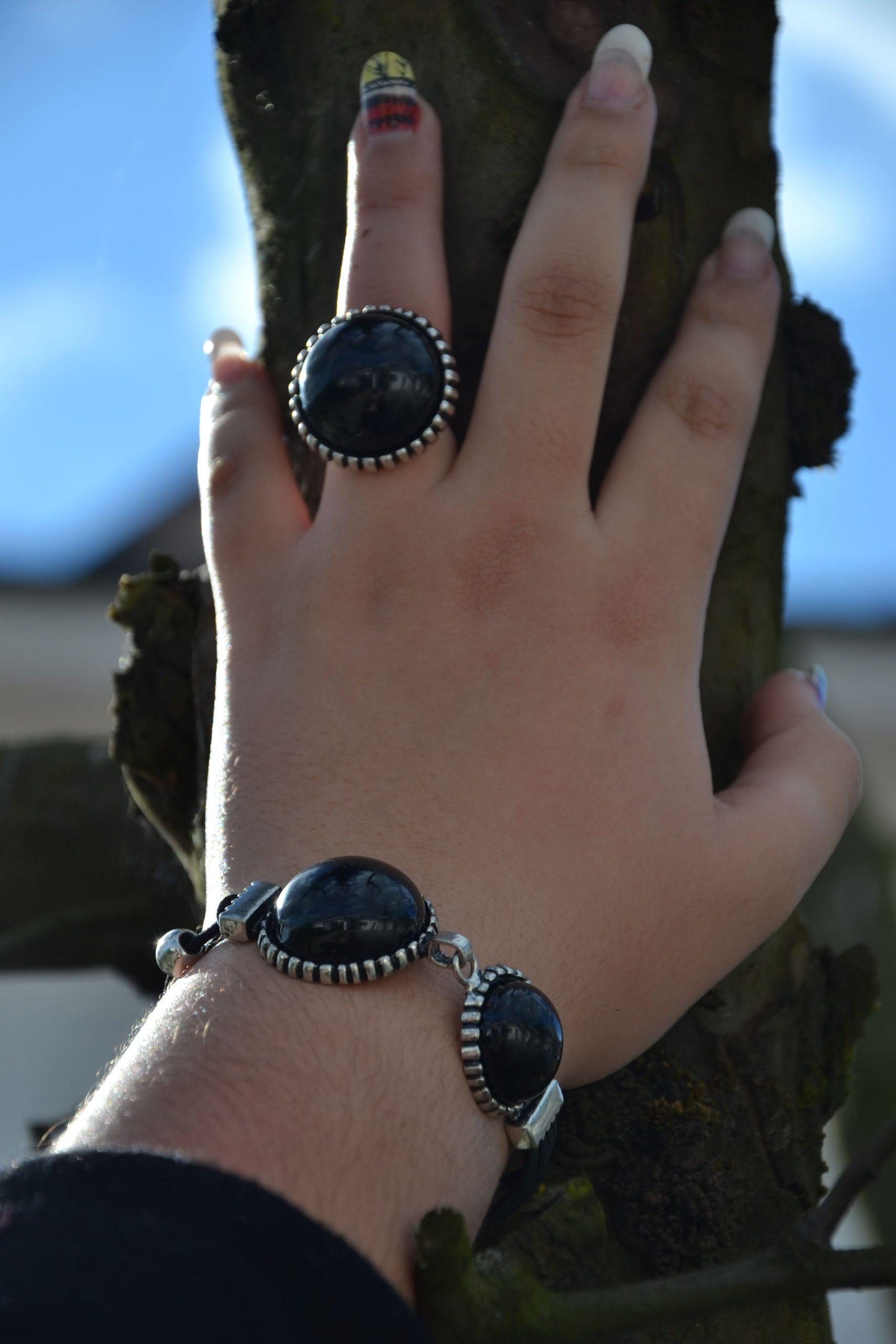 Conjunto anel e pulseira Corvus