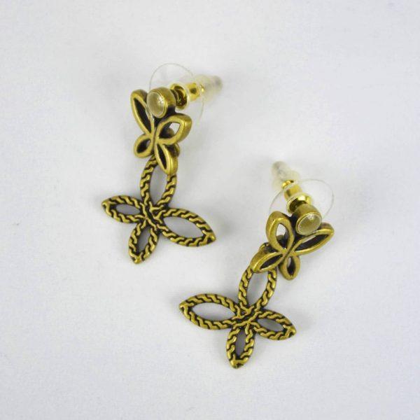 Brincos borboletas em metal antigo
