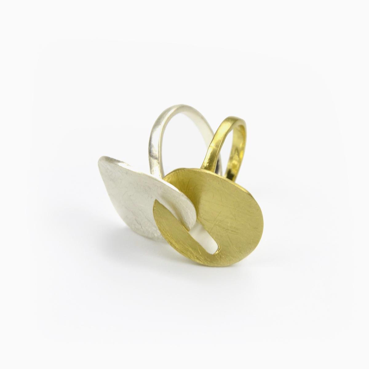Anel duplo dourado e prateado (1)