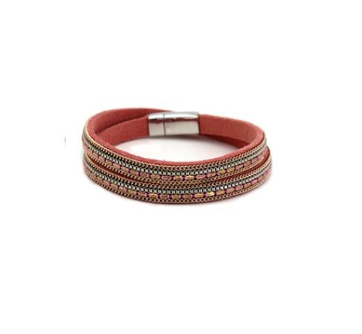 Gargantilha pulseira em pele com missanga (4)