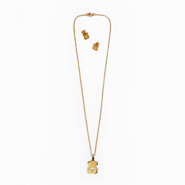 Conjunto em aço ursinho dourado (1)