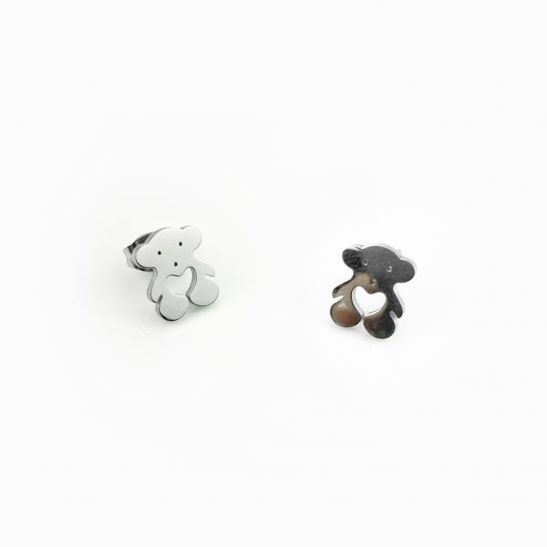 Conjunto em aço ursinho prateado (2)