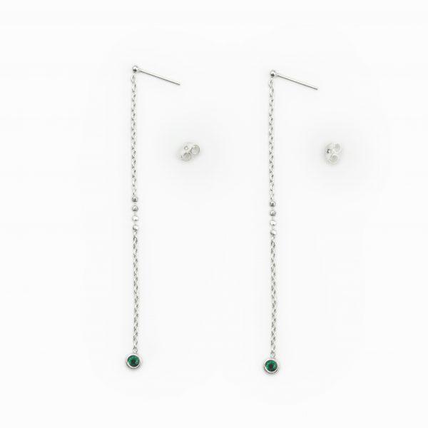 Brincos em prata pedra verde