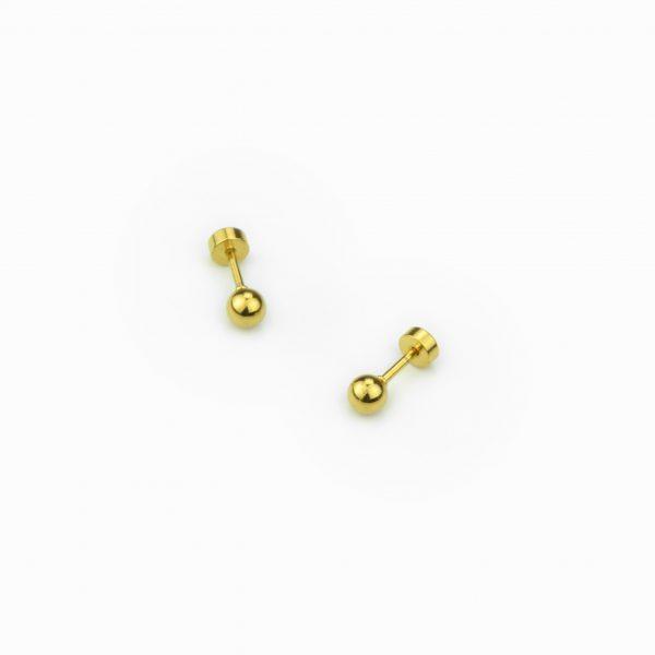 Brincos bola dourada em aço