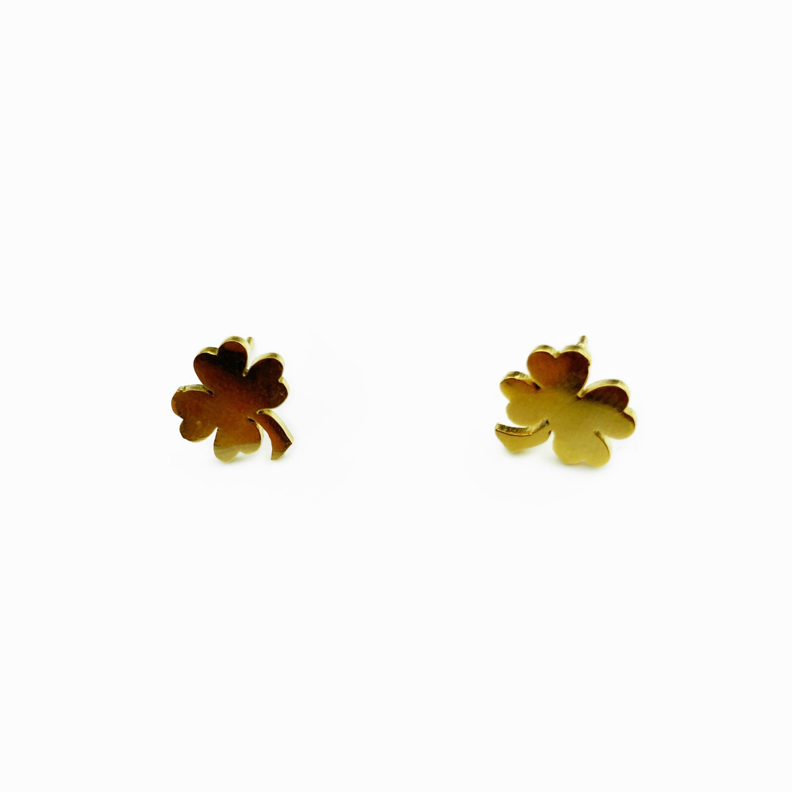 Conjunto em aço trevo dourado (2)