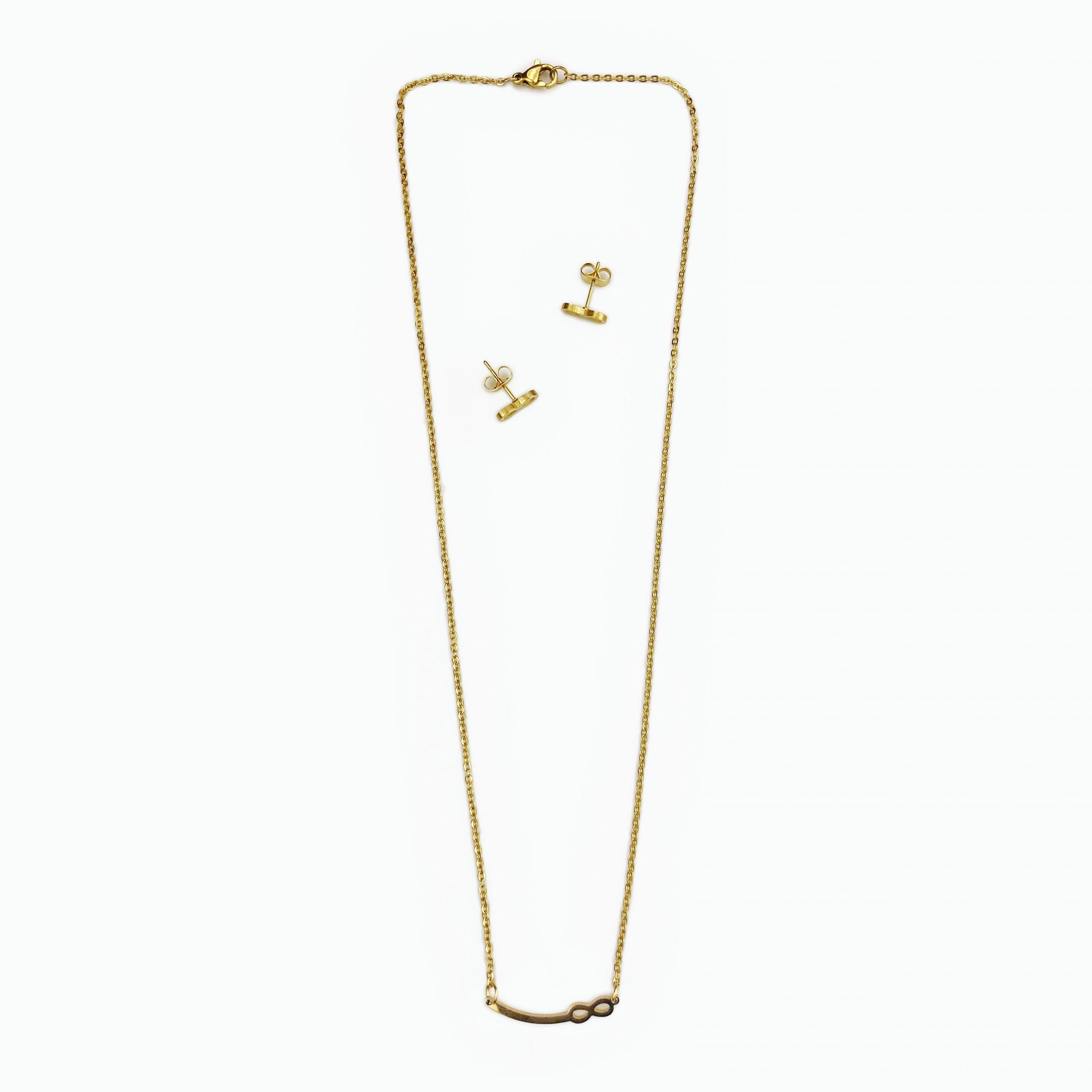 Conjunto infinito dourado em aço (2)