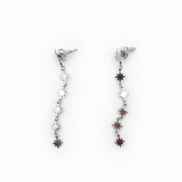 Brincos aço estrelas em cascata (2)