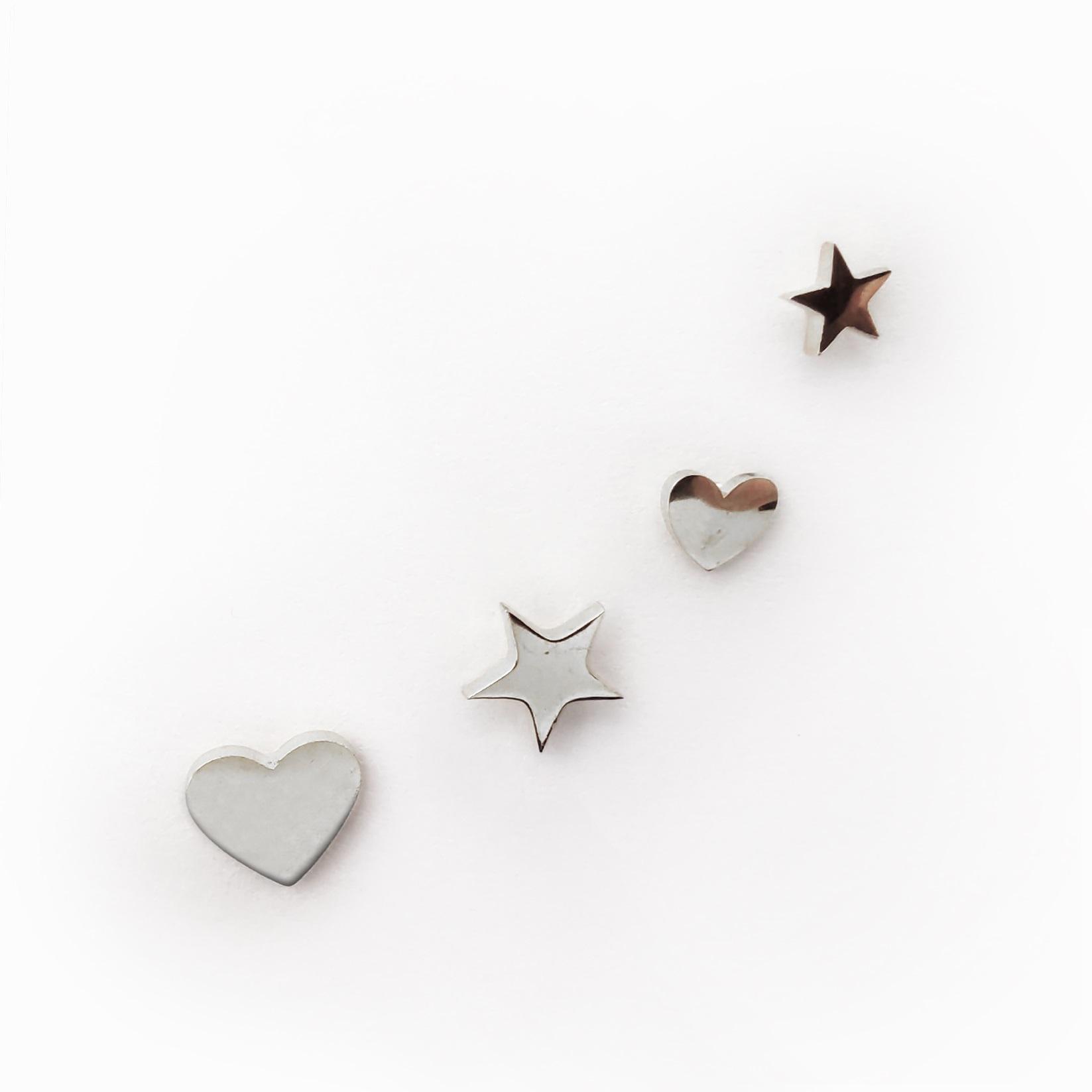 Brincos coração estrela aço