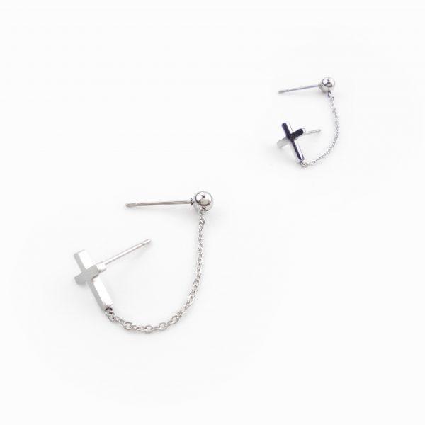 Brincos ear cuff corrente em aço (2)