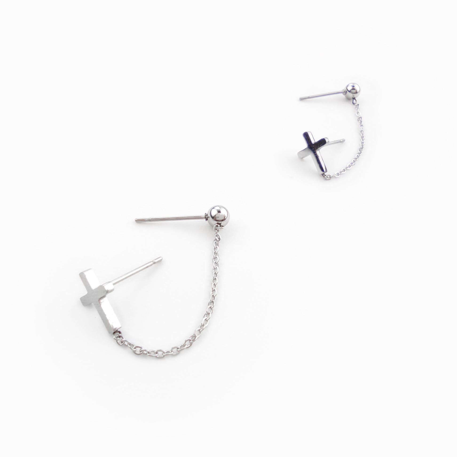 Brincos ear cuff corrente em aço (1)